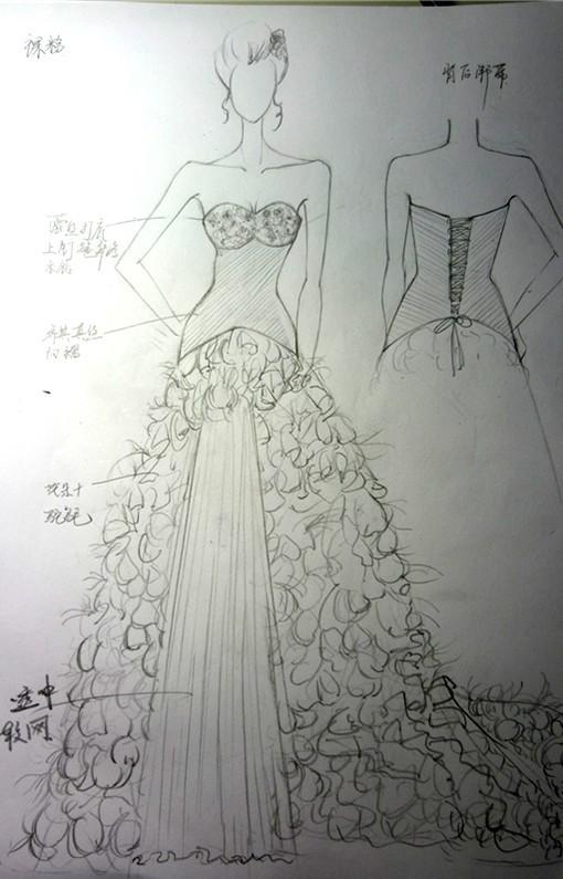 素描欧式复古婚纱