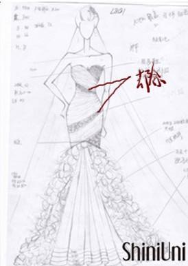 手绘图对比,你会发现,婚纱的上半身少了两块蕾丝区