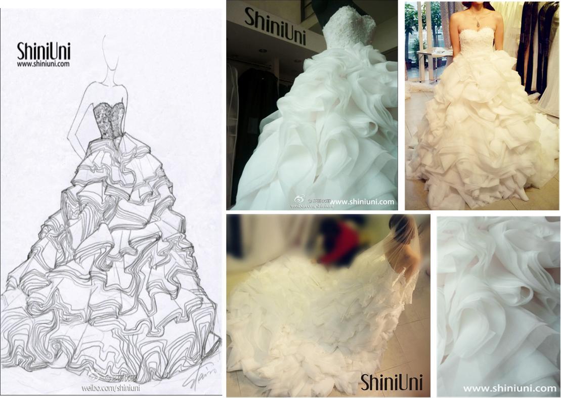 婚纱        精美的中式礼服,精致的蕾丝与亮片,很有复古感觉更充满