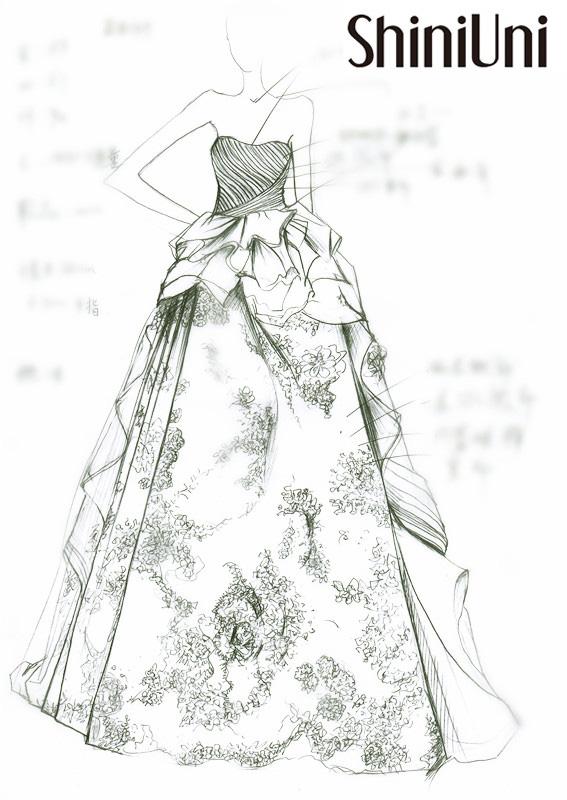 蕾丝长裙手绘图