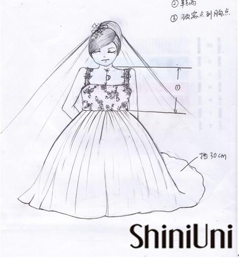 女生婚纱手绘图