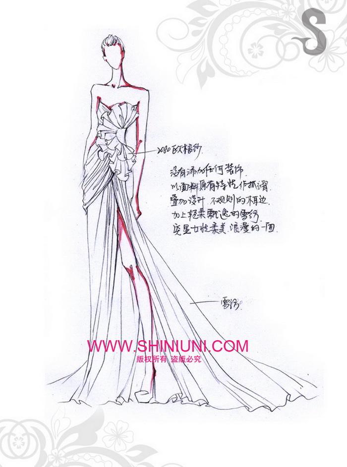 服装设计手绘拖尾
