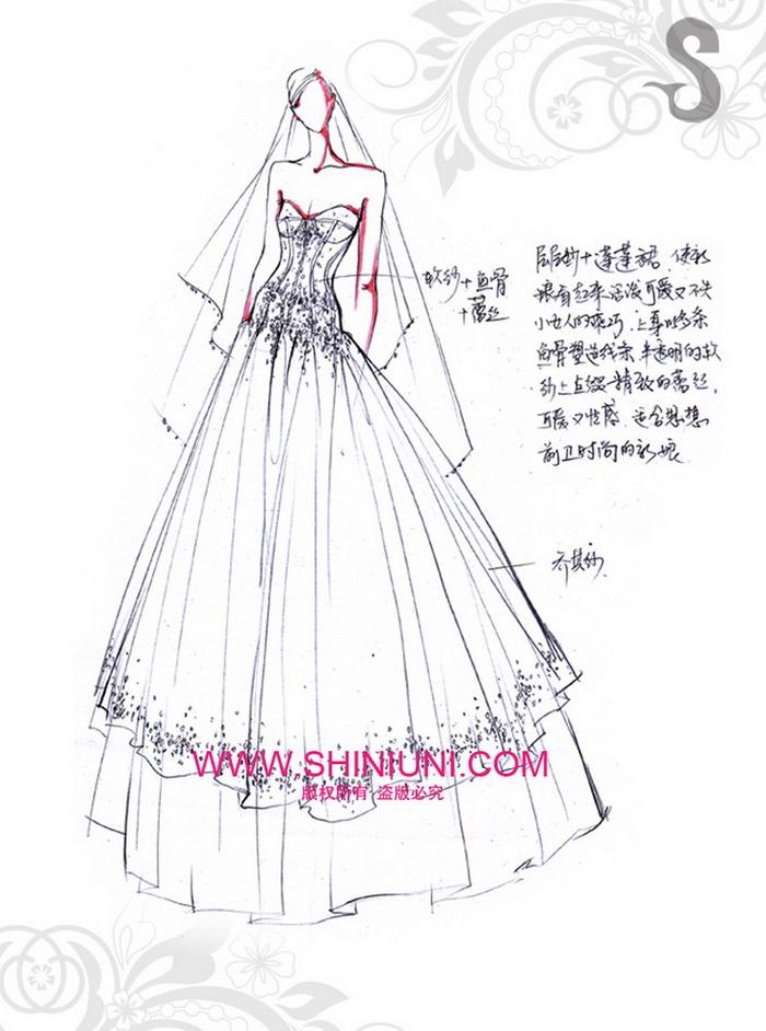 蓬蓬裙婚纱手绘